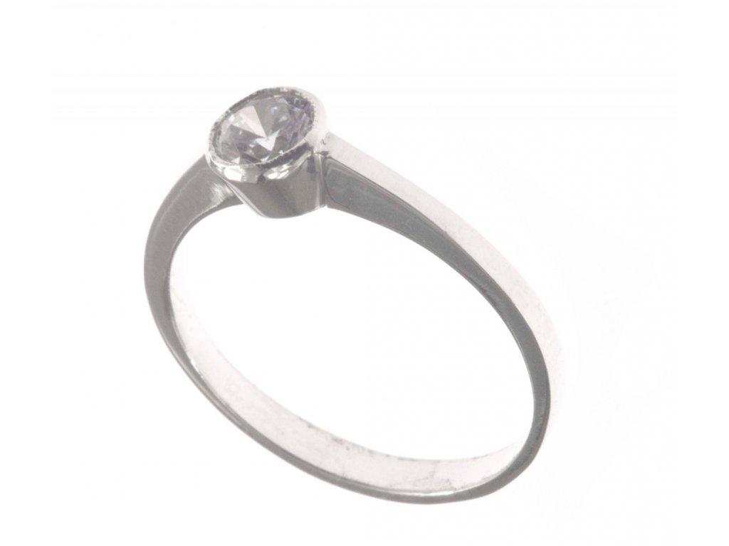Prsten z bílého zlata se zirkony G475
