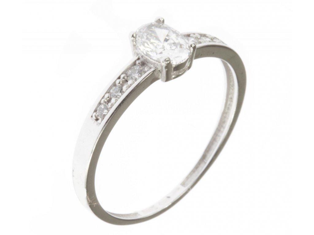 Prsten z bílého zlata se zirkony G533