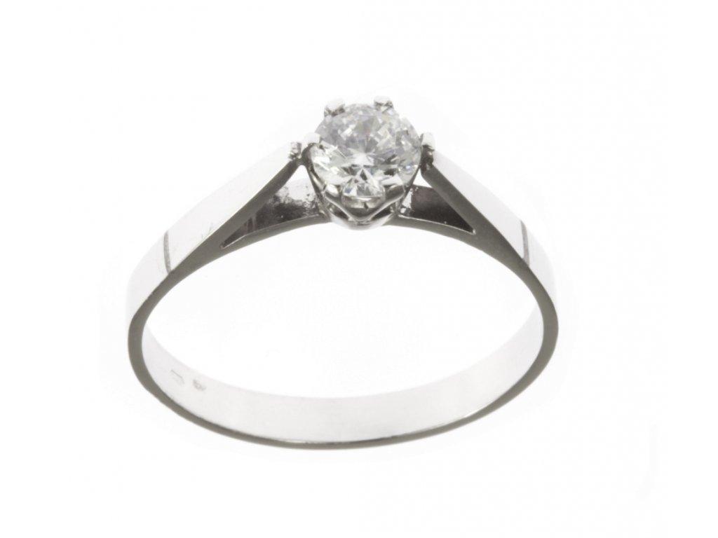 Prsten z bílého zlata se zirkony G550