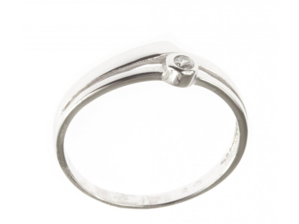Prsten z bílého zlata se zirkony G484