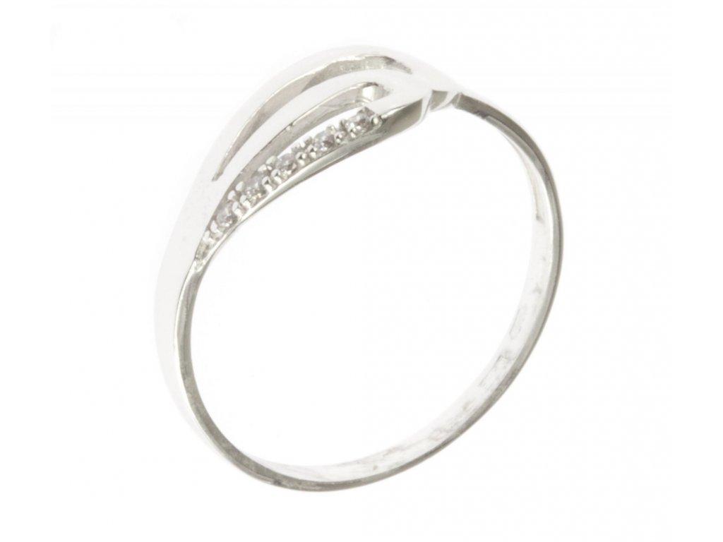 Prsten z bílého zlata se zirkony G528