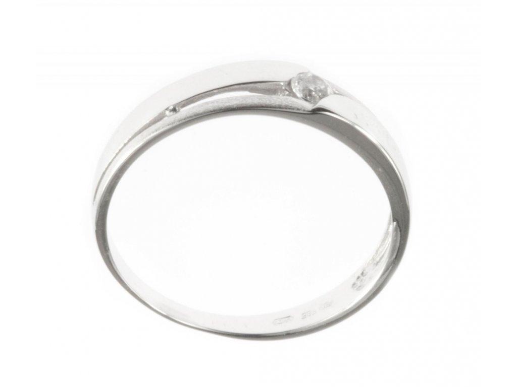 Prsten z bílého zlata se zirkony G510