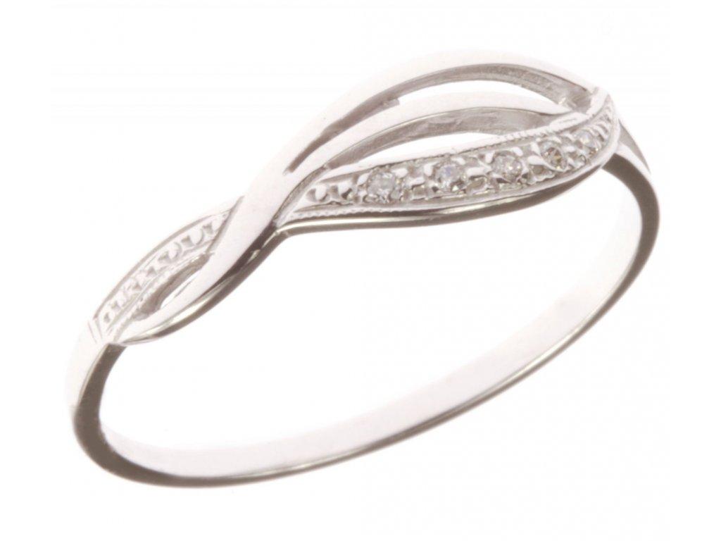 Prsten z bílého zlata se zirkony G581