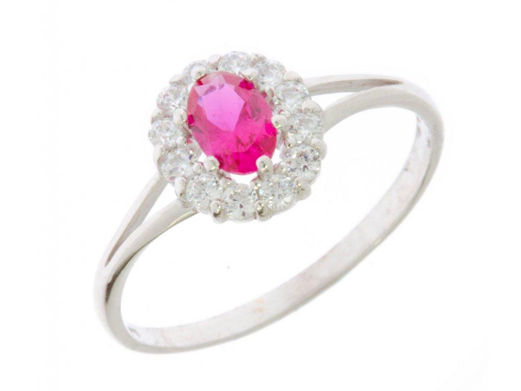 Prsten z bílého zlata s rubínem G613