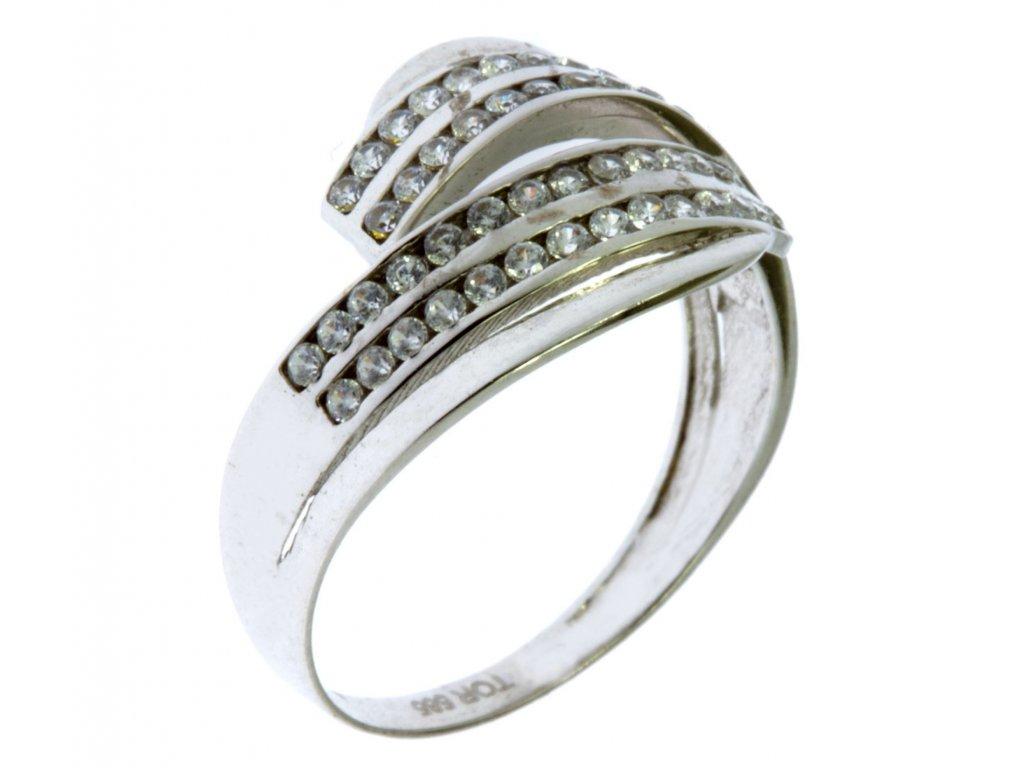 Prsten z bílého zlata se zirkony G268