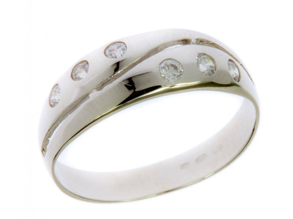 Prsten z bílého zlata se zirkony G592