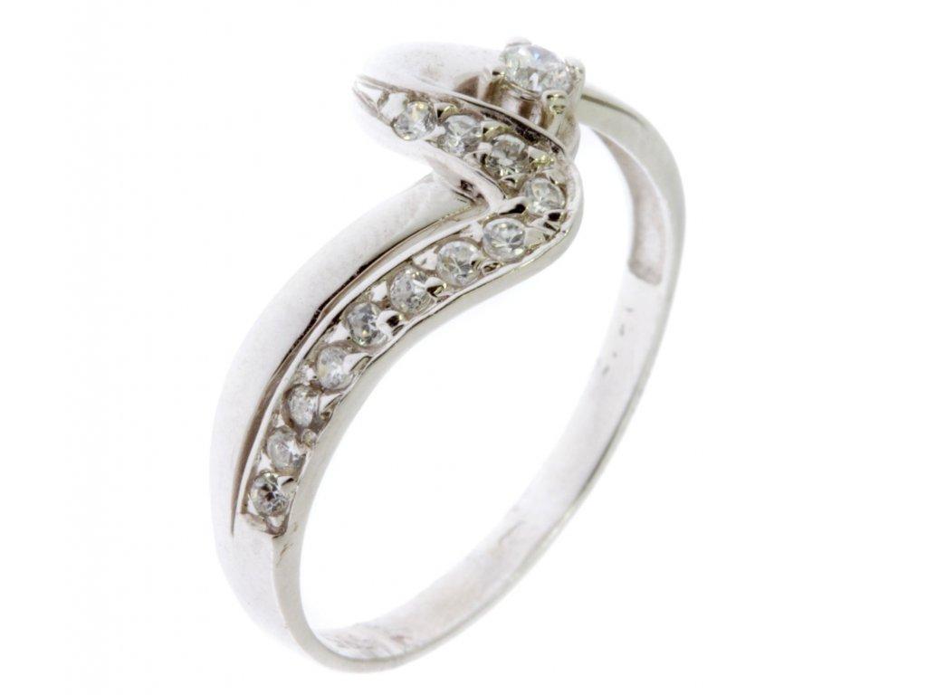 Prsten z bílého zlata se zirkony G619