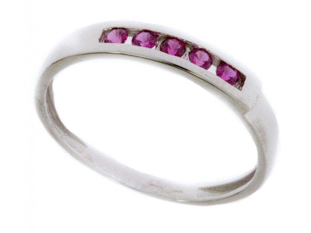 Prsten z bílého zlata se zirkony G607