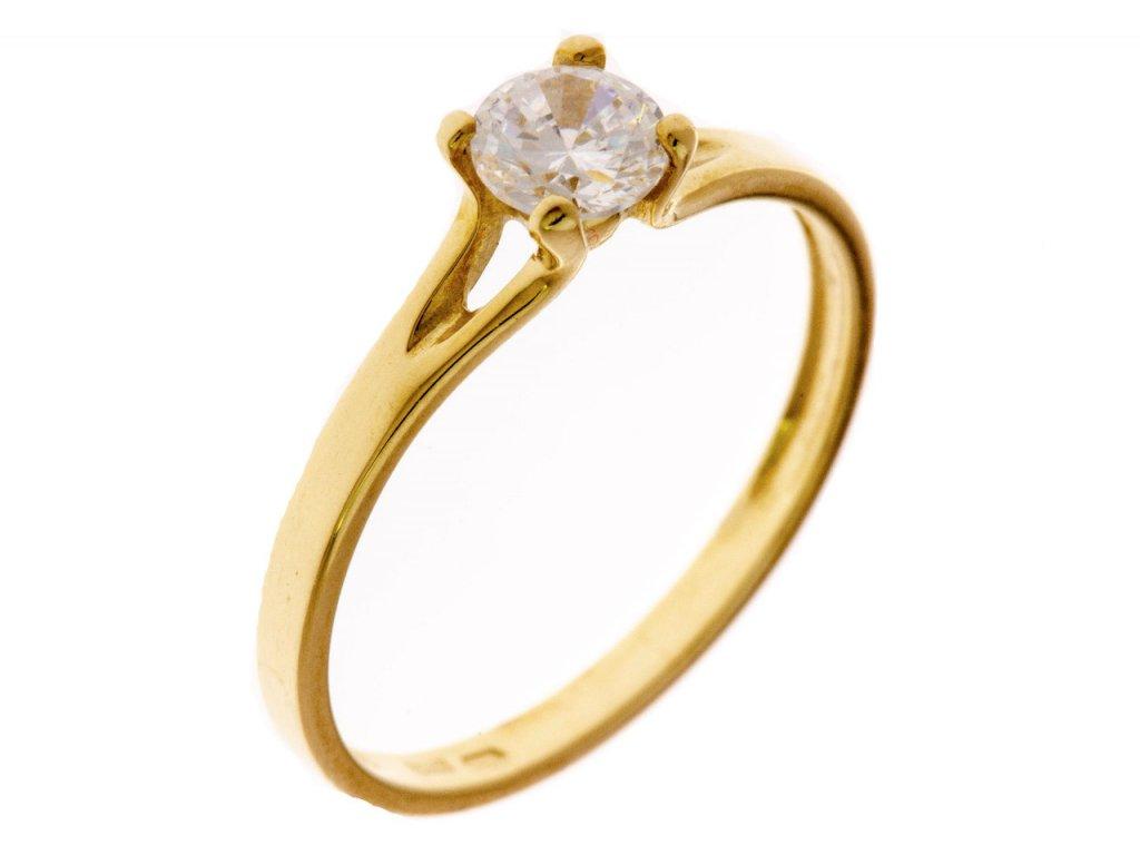 Prsten ze žlutého zlata G649