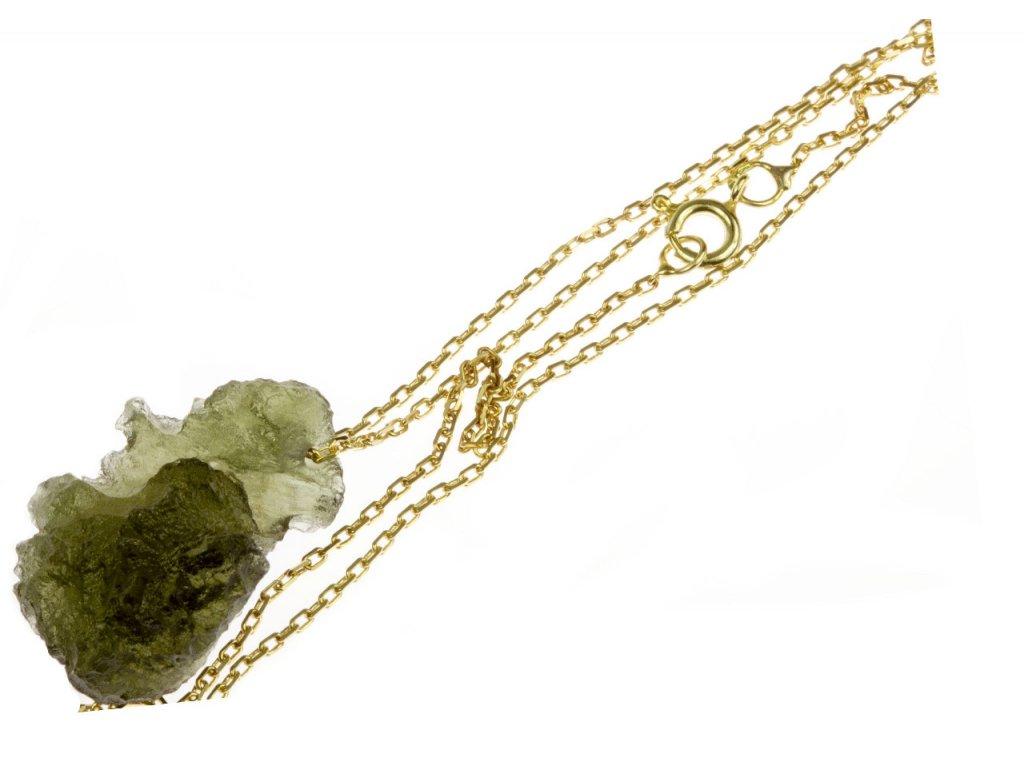 Zlatý řetízek  ANKR s Vltavínem D761