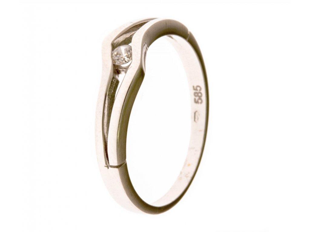 Prsten z bílého zlata se zirkony G665
