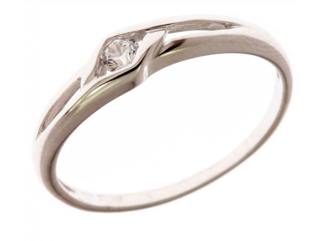 Prsten z bílého zlata se zirkony G659
