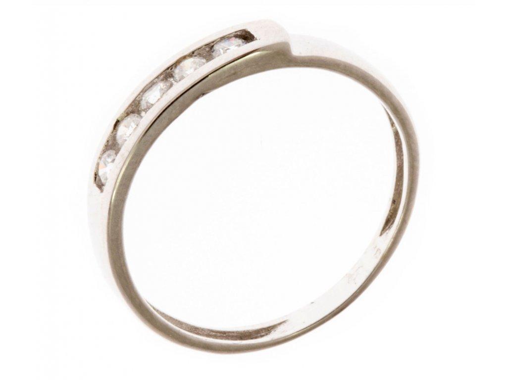 Prsten z bílého zlata se zirkony G667