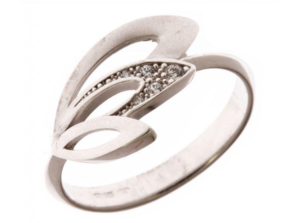 Prsten z bílého zlata se zirkony G663