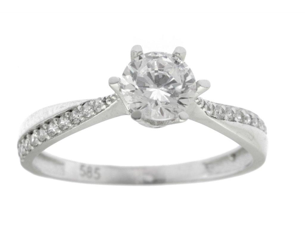 Prsten z bílého zlata se zirkony G743