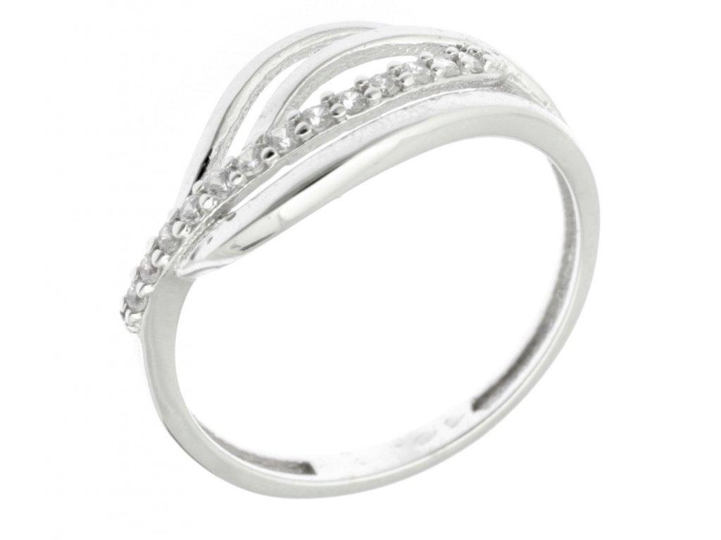 Prsten z bílého zlata se zirkony G729