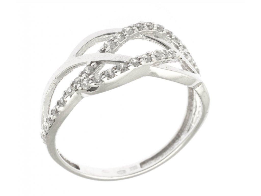 Prsten z bílého zlata se zirkony G741