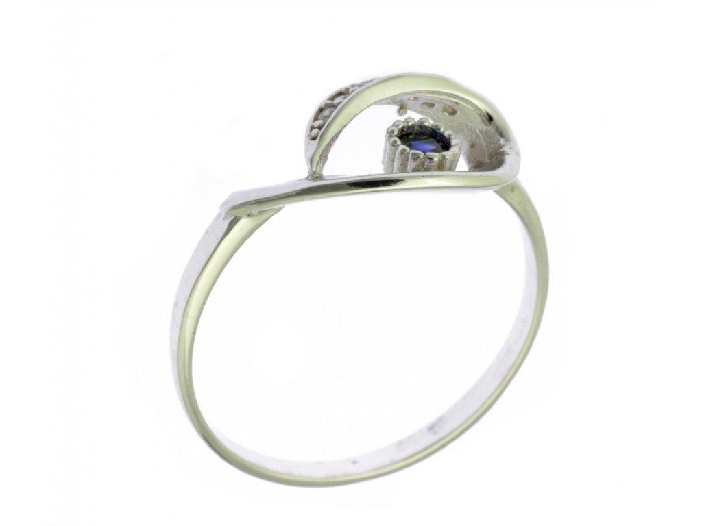 Prsten z bílého zlata se zirkony G731