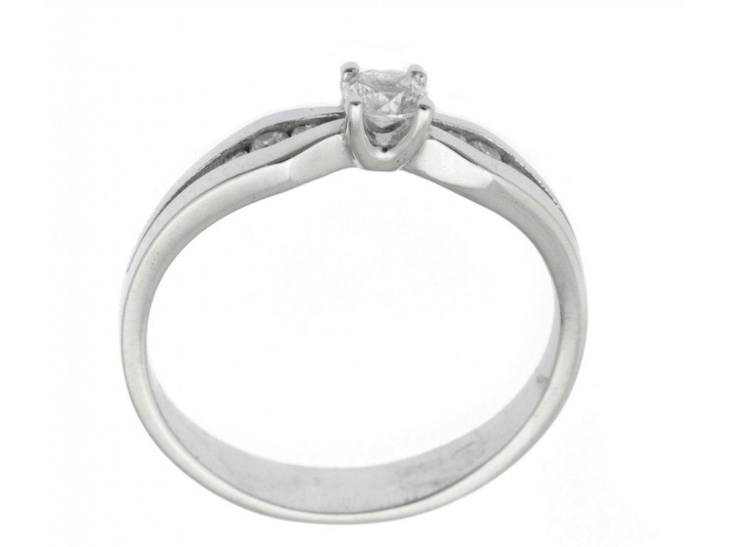 Prsten z bílého zlata se zirkony G761