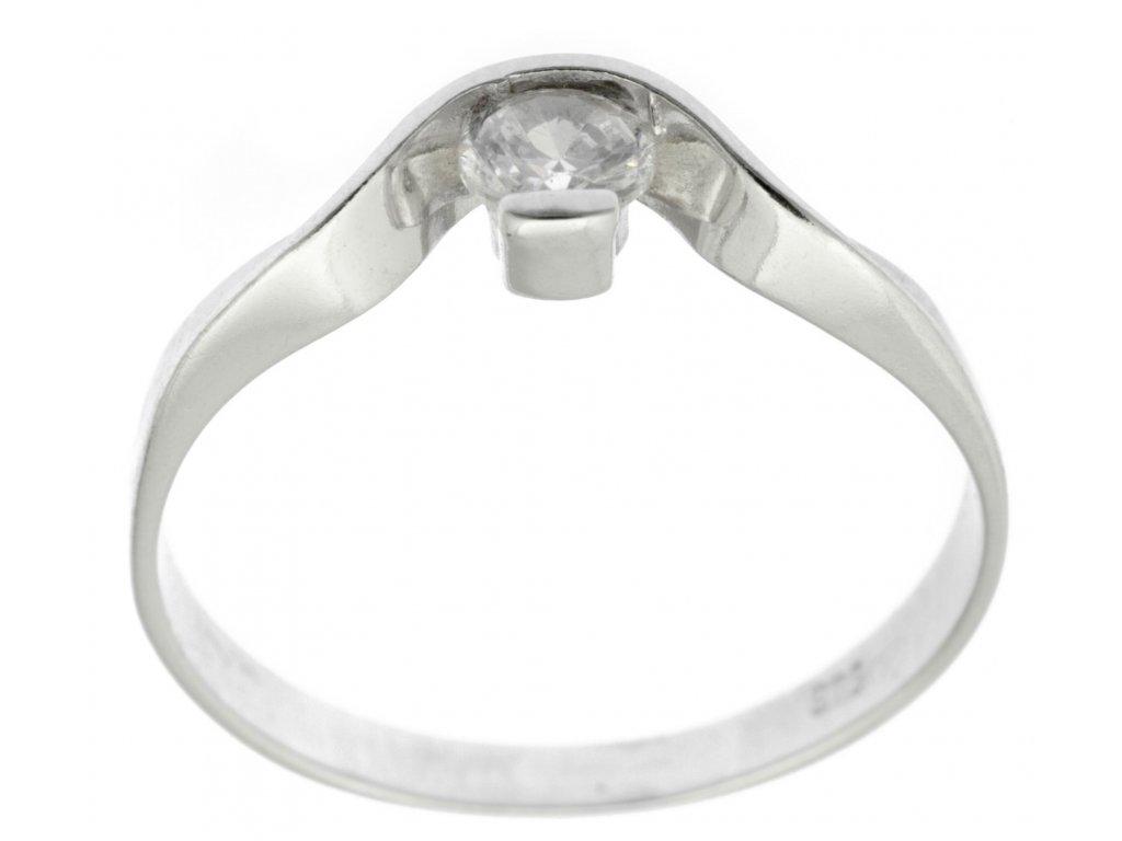Prsten z bílého zlata se zirkony G713