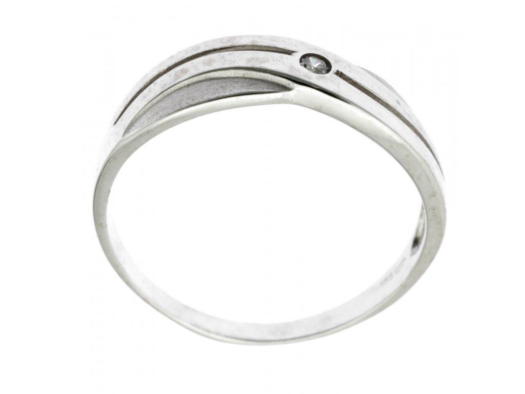 Prsten z bílého zlata se zirkony G715