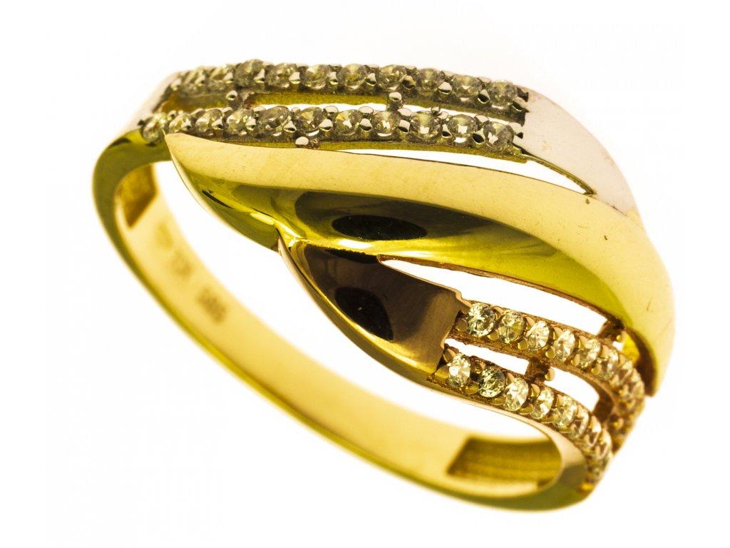 Prsten ze žlutého zlata G836