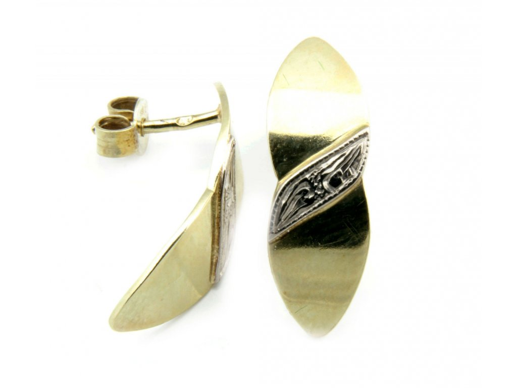 Náušnice ze žlutého a bílého zlata E558