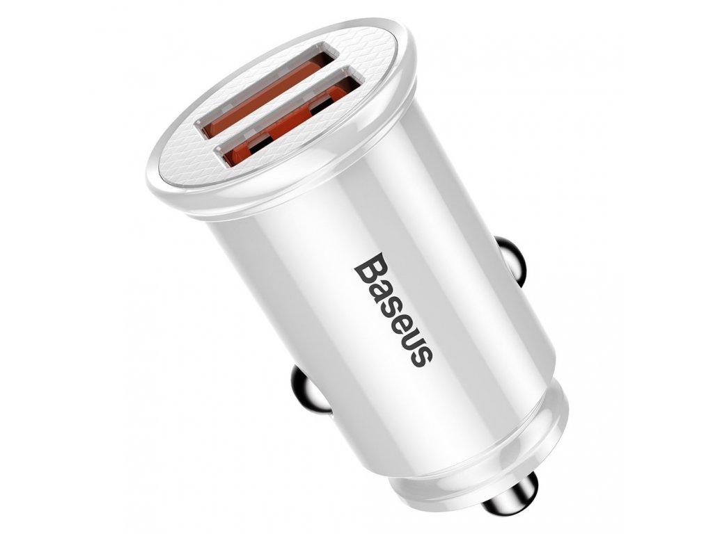 Baseus Circular nabíječka do auta 2 x USB 3.0 QC / 30W bílá