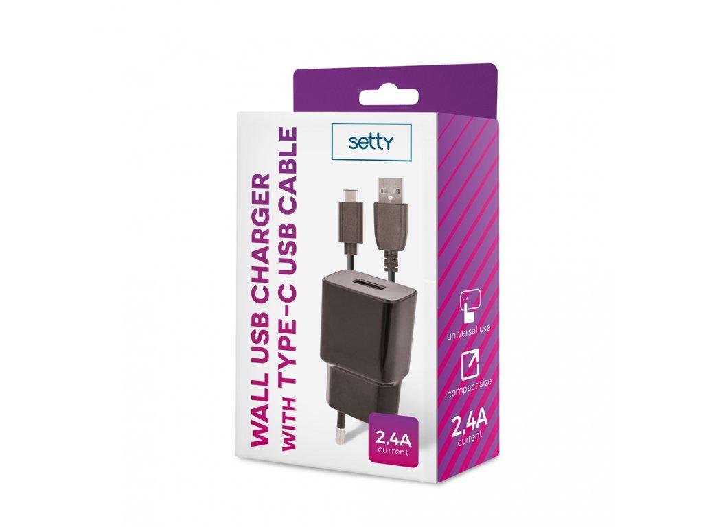 Setty USB nabíječka + kabel USB-C 2,4A