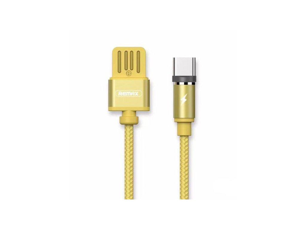 REMAX RC-095a Gravity magnetický USB kabel USB-C s LED lampičkou zlatý