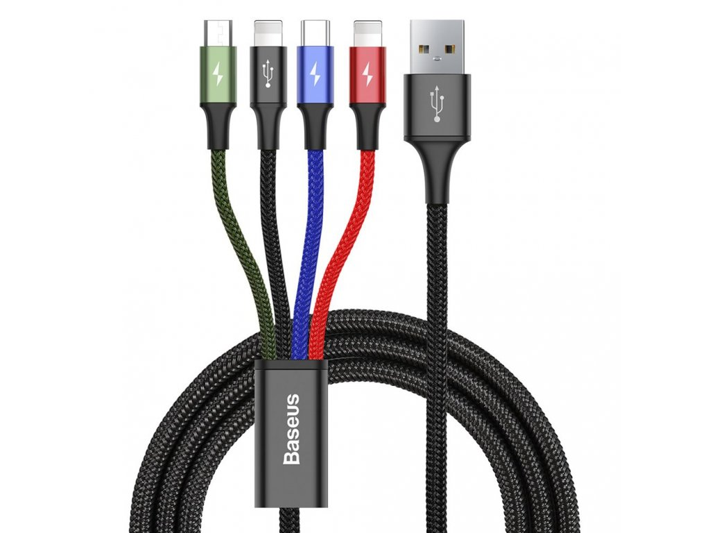 Baseus Rapid USB kabel 4v1 Micro USB / USB-C / 2 x Apple Lightning 1,2m / 3,5A CA1T4-A01