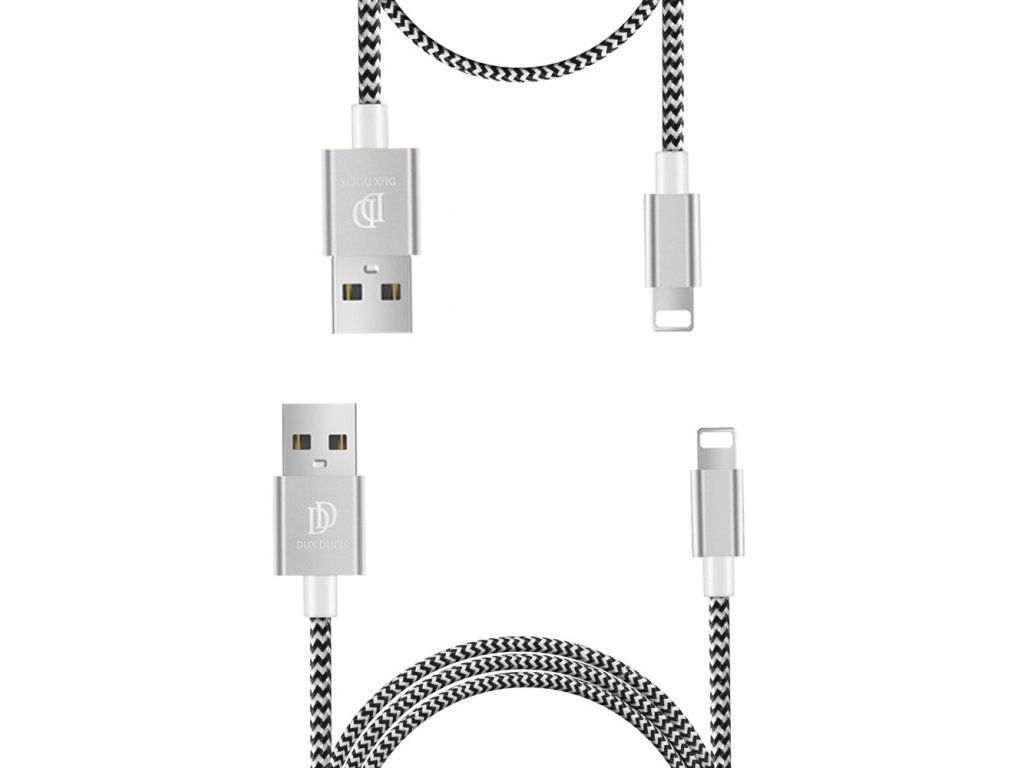 Dux Ducis K-TWO series 2x USB kabel - Apple Lightning 1m / 2A + 0,2m / 3A stříbrný