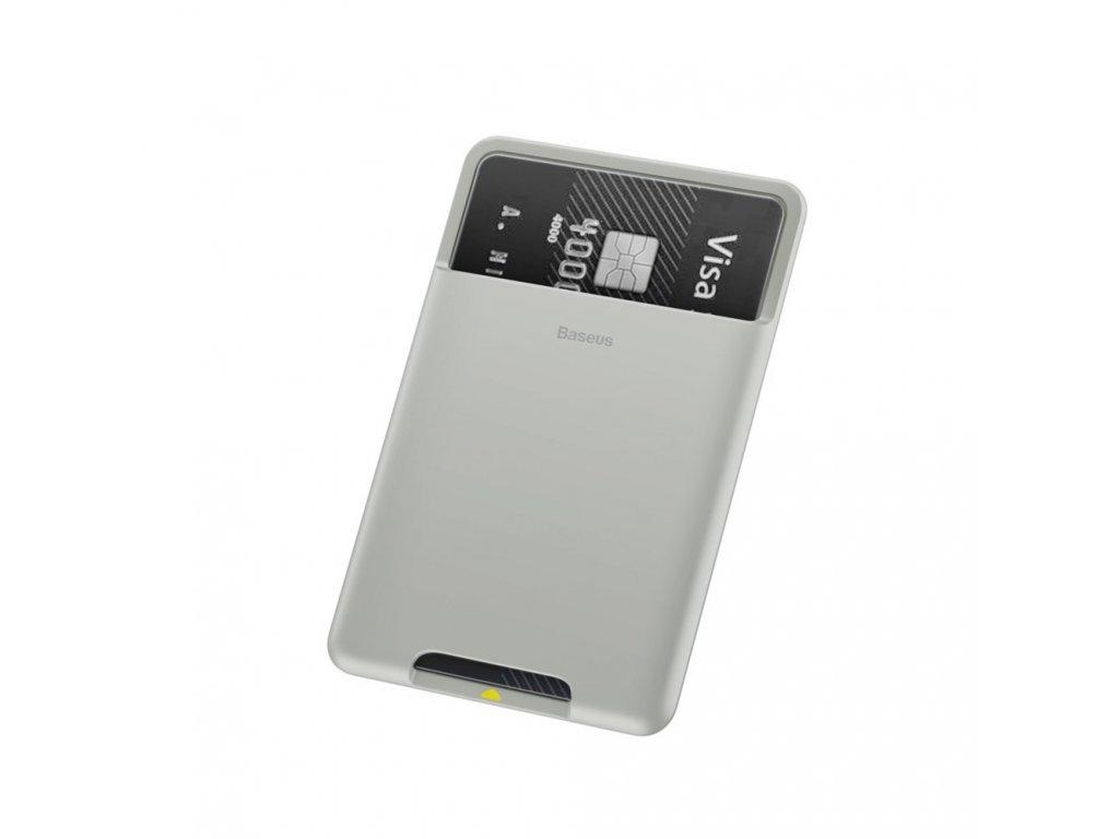 Baseus samolepící pouzdro na kreditní kartu světle šedé ACKD-B0G