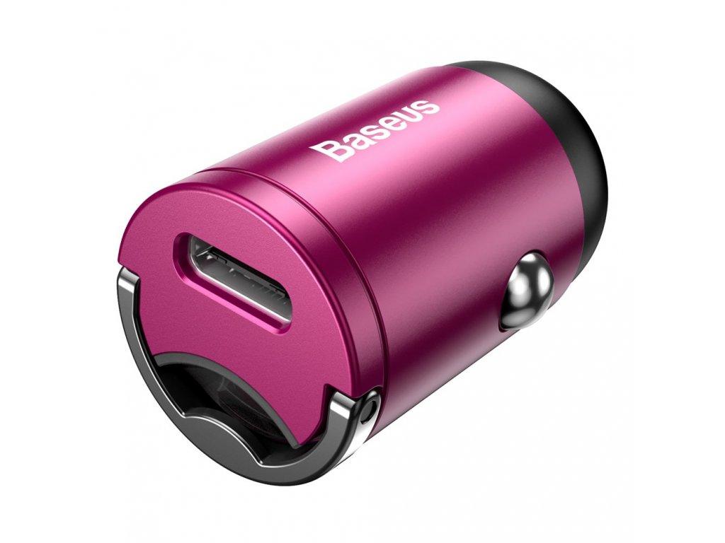 Baseus Tiny Star Mini nabíječka do auta s výstupem USB-C QC 3.0 / 30W / 5A růžová VCHX-B04