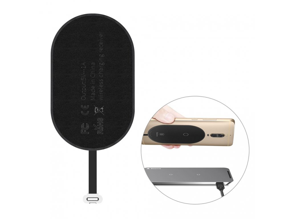 Baseus receiver pro bezdrátové nabíjení USB-C konektor černý