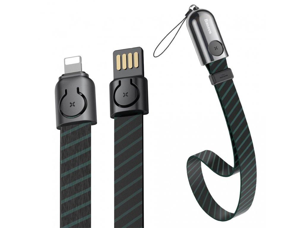 Baseus 2v1 poutko + USB kabel - iPhone Lightning / 0,35m / 2,4A black CALJL-AW1