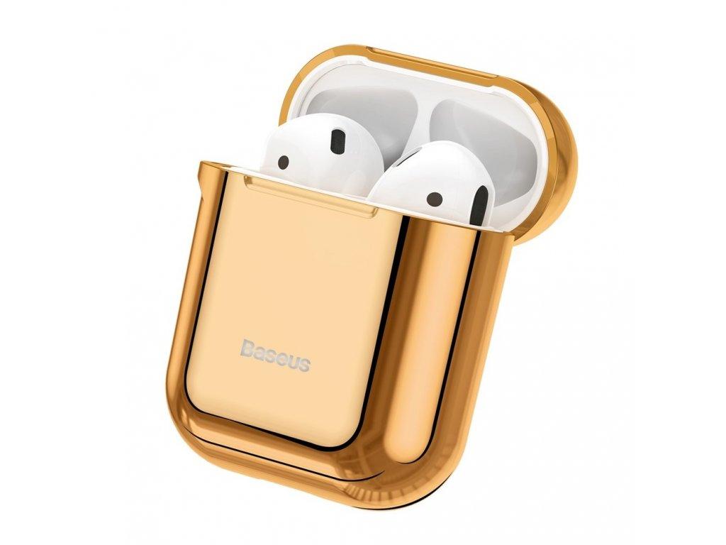 Baseus silikonové pouzdro pro Apple AirPods 1/2 zlaté / lesklé ARAPPOD-A0V