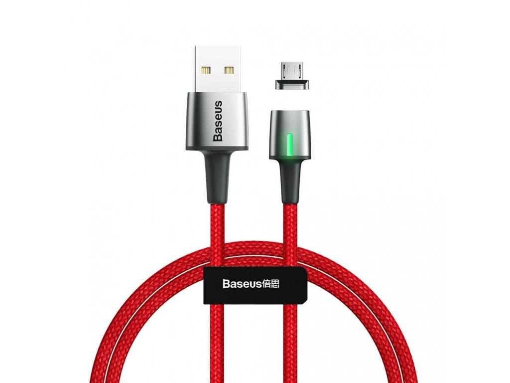 Baseus Zinc magnetický USB kabel - Micro USB 1m / 2,4A červený CAMXC-A09