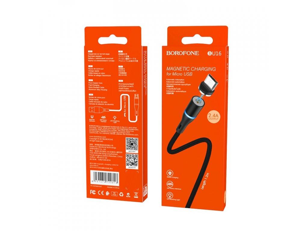Borofone BU16 magnetický USB kabel - Micro USB 1,2m / 2,4A černý