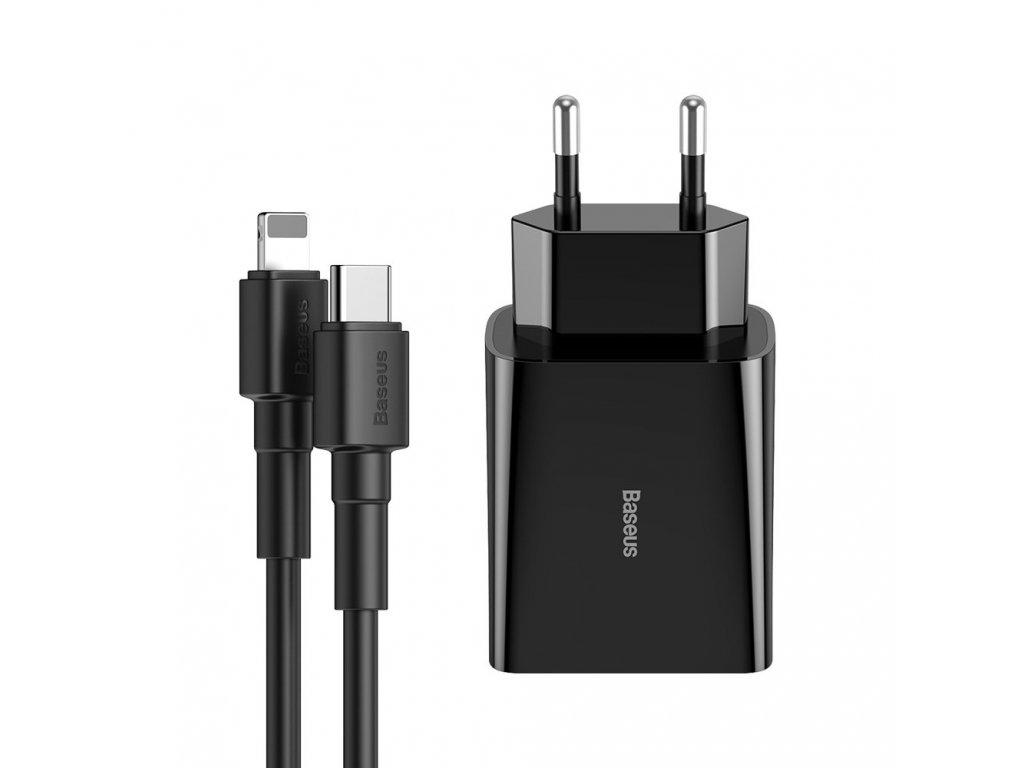 Baseus nabíječka s kabelem USB-C PD - iphone Lightning 18W / 2,4A / 1m černá TZCCFS-X01