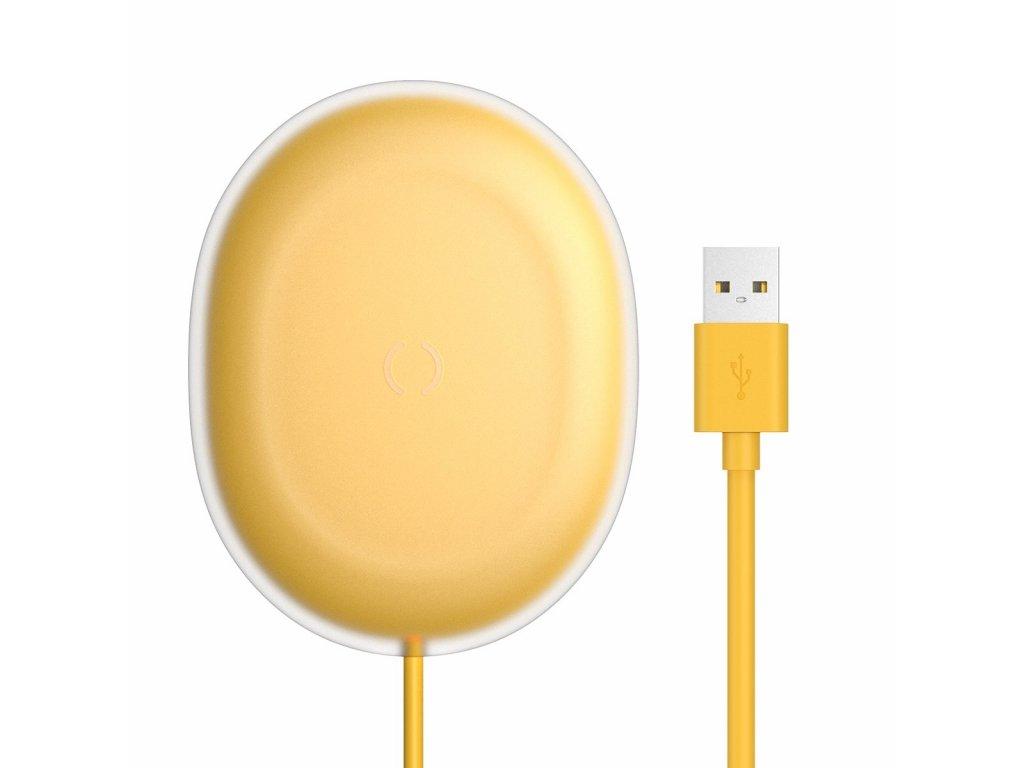 Baseus Jelly bezdrátová nabíječka Qi / 15W + kabel USB - USB-C žlutá
