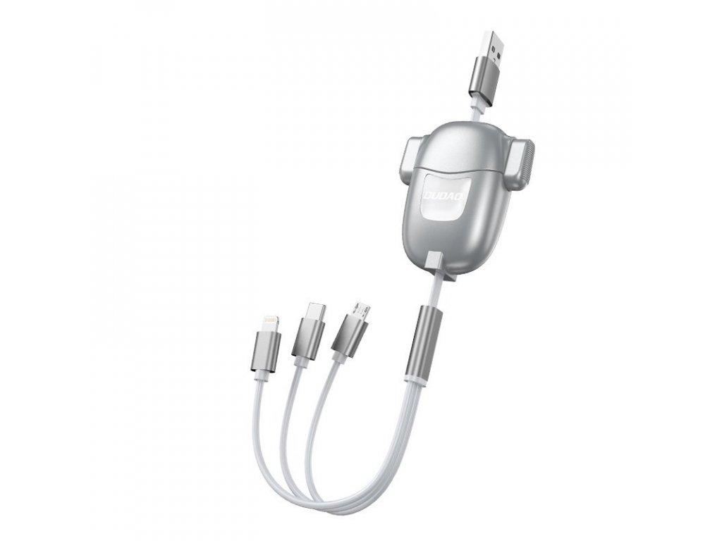 Dudao L8Pro 3v1 USB kabel svinovací 25-110cm iPhone Lightning / USB-C / Micro USB / 3A