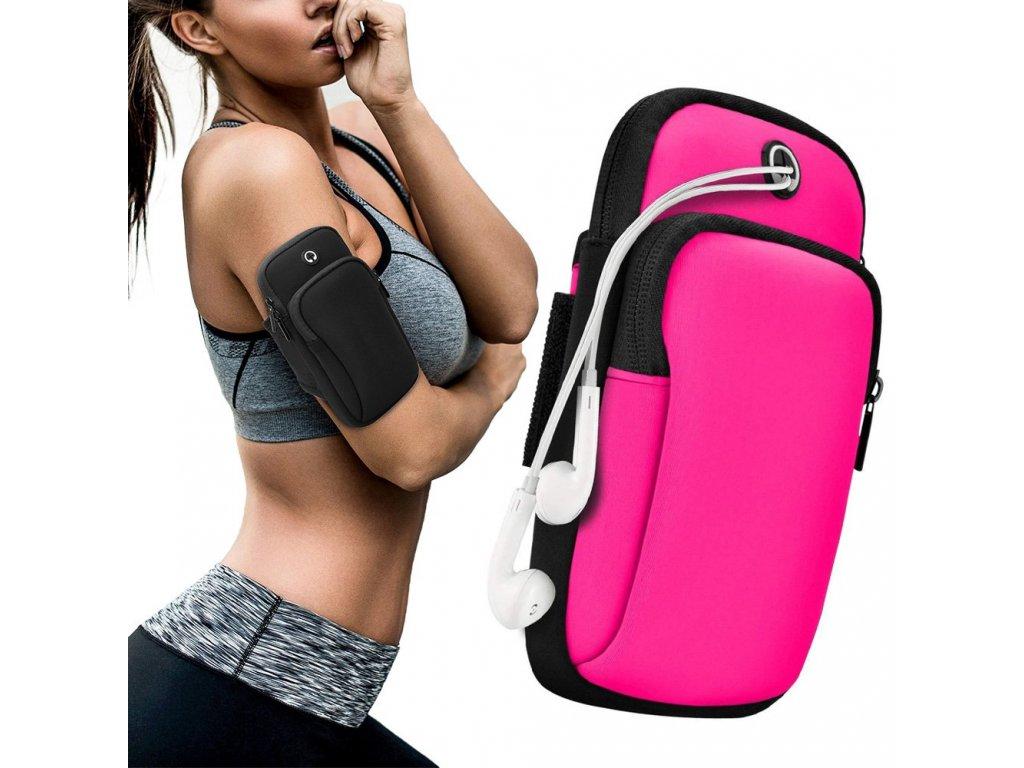 Sportovní pouzdro na rameno / paži na běhání s prostupem na sluchátka růžové