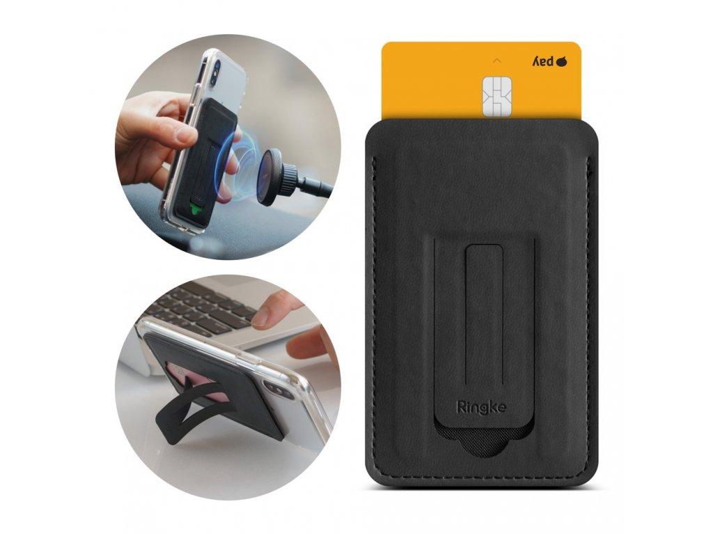 Ringke samolepící multifunkční pouzdro na kreditní kartu - černé