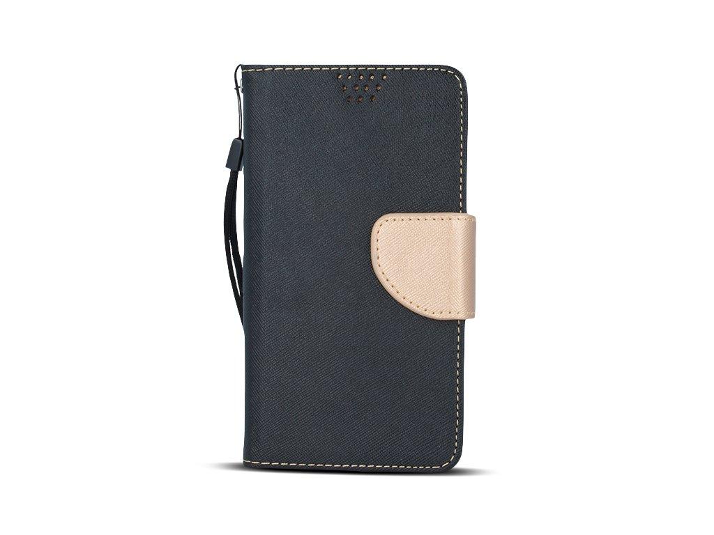 """Smart Book pouzdro univerzální pro telefony 4,7"""" - 5,3"""" černá/zlatá (FAN EDITION)"""