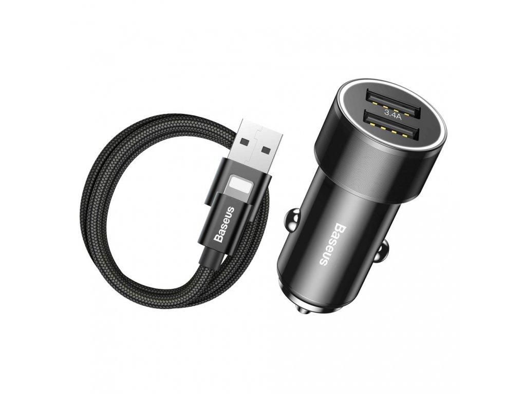 Baseus Small Screw / iteligentní nabíječka 2 x USB + Kabel Apple Lightning (3,4A) černá