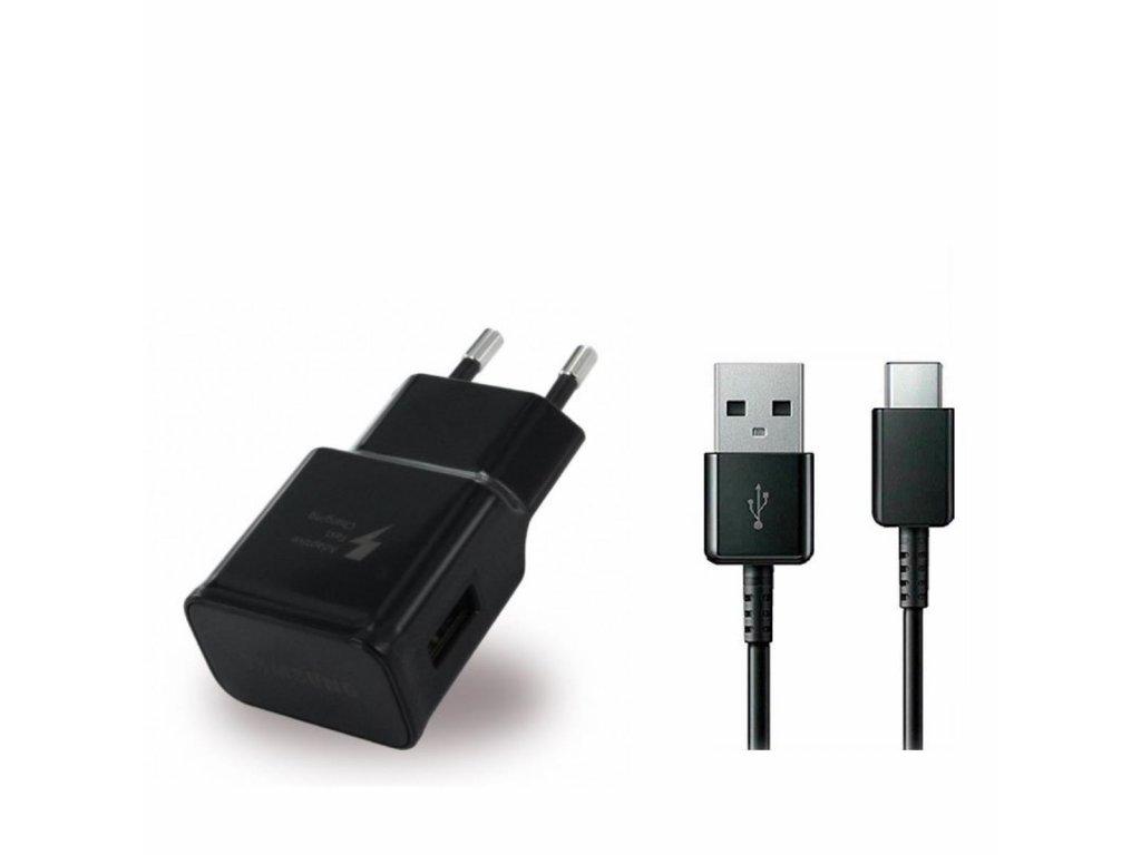 SAMSUNG EP-TA200EBE nabíječka + kabel USB-C černá (bulk) 2000mA