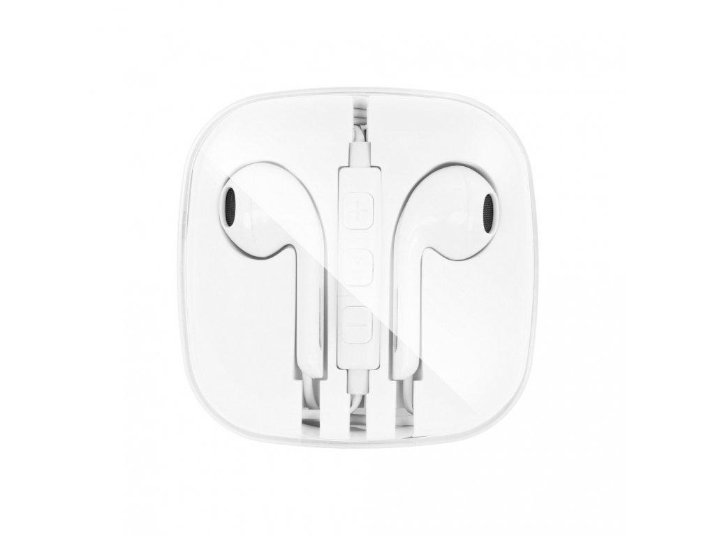 OEM sluchátka s ovládáním EarPods style pro iPhone 5/5C/5S, 6/6S, 6+/6S+ bílé
