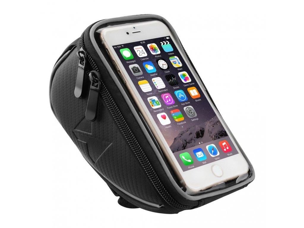 """Wozinsky taška řídítka kola 0,9l / pouzdro na telefon do 6,5"""" černá"""