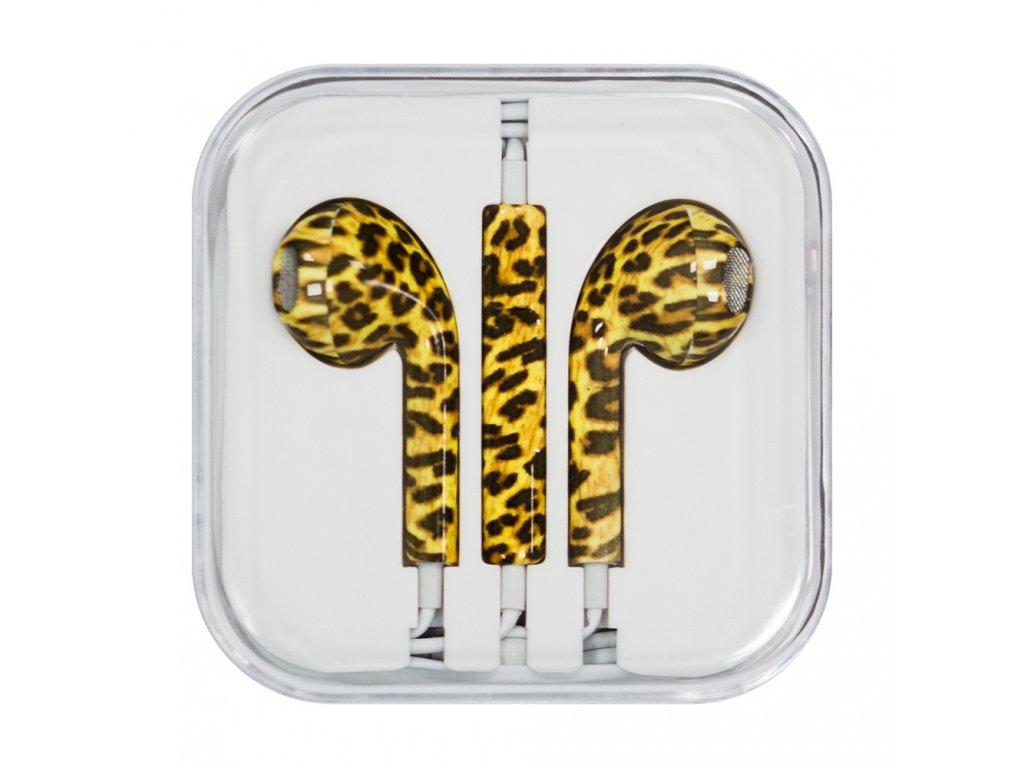 OEM sluchátka s ovládáním EarPods style pro iPhone 5/5C/5S, 6/6S, 6+/6S+ leopard